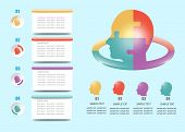Modern Infographic Of Puzzle Head With Four Color Numbered Heads Ready For Your Text Under The Head. poster