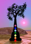 stock photo of kundalini  - Meditation and chakras under by tree by violet sunset - JPG