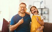 Fathers Day. Happy Funny Family Daughter And Dad With Mustache poster
