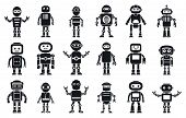 Humanoid Character Icons Set. Simple Set Of Humanoid Character Vector Icons For Web Design On White  poster