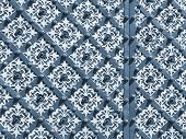Blue wrought iron decorated door.
