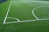 Green Football Field With White Marking Lines - Background With Football Marking poster
