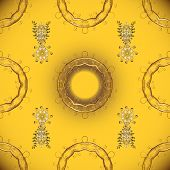 Golden Pattern On Yellow And Brown Colors With Golden Elements. Traditional Orient Ornament. Classic poster