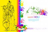 illustration of Radha Krishna on holi wallpaper
