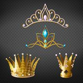 Crown, Tiara, Golden Diadem For Princess Or Queen Set Isolated On Transparent Background. Royal Crow poster