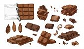 Bundle Of Colored Drawings Of Whole And Broken Into Pieces Chocolate Bars And Cocoa Beans. Tasty Swe poster