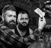 Friends Relaxing In Pub. Hipster Brutal Bearded Man Spend Leisure With Friend At Bar Counter. Order  poster