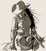 Woman With A Cowboy Hat. Cowboy Girl Riding Horse With Lasso. Hand Drawn Vector Illustration. Illust poster