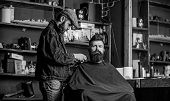 Grooming Concept. Hipster With Beard Covered With Cape Serving By Professional Barber In Stylish Bar poster