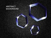 Geometric Polygons Sparkle On The Background. Modern Geometric Background. Abstract Composition. 3d  poster