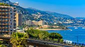 Panoramic View Of Monaco Coastline And Luxury Residential Apartment Buildings In Monte Carlo Princip poster