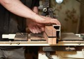Cutting On A Banded Neck Saw For A Classical Guitar. Production Of Classical Guitar. poster