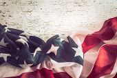 Patriotic Symbolism. American Flag On Wooden Background poster