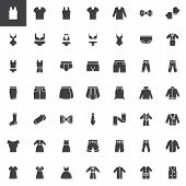 Clothes And Accessories Vector Icons Set, Modern Solid Symbol Collection, Filled Style Pictogram Pac poster