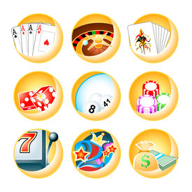 stock photo of poker machine  - Vector icons for casino games - JPG