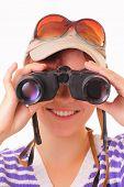 Happy Young Girl Looking Through Binoculars