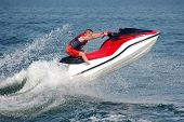 picture of jet-ski  - An extreme jet skier rides the waves of the Chesapeake Bay - JPG
