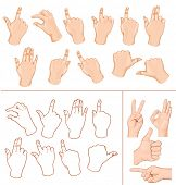 Set of commonly used multitouch gestures for tablets or smartphone and hand with business signs. Ill