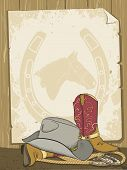 Cowboy Background With Boots And Hat.vector Old Paper