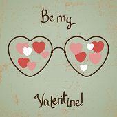 Valentinskarte mit Brille, Herz. Vintage-Design.