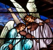 Detail of stained glass window of angels