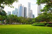 Singapore Central Business District And Esplanade Park