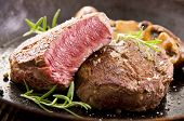 stock photo of ribeye steak  - beef steak in the pan - JPG