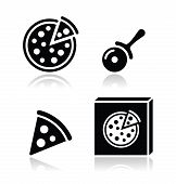 Pizza vector icons set with reflections