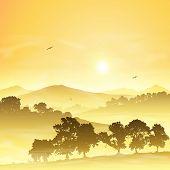 A Misty Countryside Landscape with Sunrise, Sunset