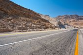stock photo of samaria  - Meandering Road in Sand Hills of Samaria Israel - JPG