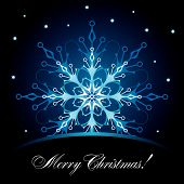 stock photo of christmas cards  - Decorative ornate card with snowflake for Christmas holidays - JPG