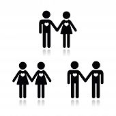 foto of gey  - Relationship diverstiy black icons set  - JPG