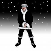 picture of insane  - Scary insane clown Santa Claus surrounded by snow - JPG