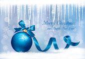Plano de fundo de Natal com a bola de presente azul e pingentes. Ilustração vetorial.