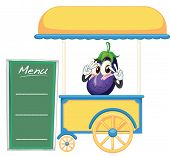 ilustração de uma barraca de carrinho e uma fruta em um fundo branco