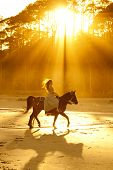 backlit woman in formal dress riding horse on beach