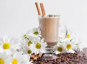 Cup of Cappuccino with White Flowers
