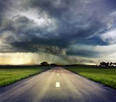 stock photo of windy weather  - the road to storm  - JPG