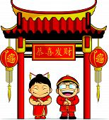 der junge & Mädchen Gruß Chinesisches Neujahr Cartoon