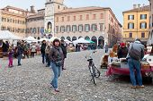 Open Market On Piazza Grande In Modena, Italy