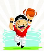 Cartoon Of Happy American Football Player