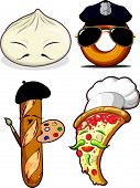 Food Set - Chinese Bun, French Bread, Pizza Chef & Police Doughnut
