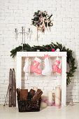 Imitation Of Christmas Firewood With Socks