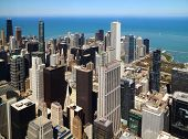 Chicago downtown aerial panorama view with skyscrapers and city skyline at Michigan lakefront.