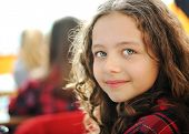 stock photo of cute kids  - Cute lovely school children at classroom having education activities - JPG