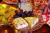 Wensleydale and Stilton cheeses.