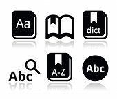 Dictionary book vector icons set
