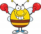 Pudgy Bee Cartoon Character Wearing Boxing Gloves