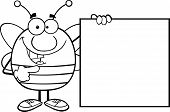 Black And White Pudgy Bee Cartoon Character Showing A Blank Sign