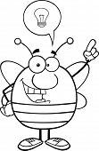 Black And White Pudgy Bee Character With Good Idea